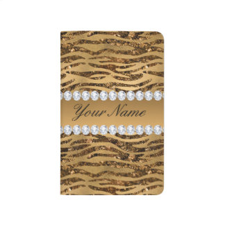 Bronze Gold Faux Foil Zebra Stripes Journal
