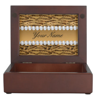 Bronze Gold Faux Foil Zebra Stripes Keepsake Box