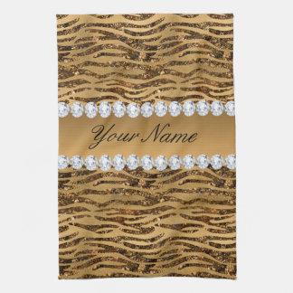 Bronze Gold Faux Foil Zebra Stripes Kitchen Towel