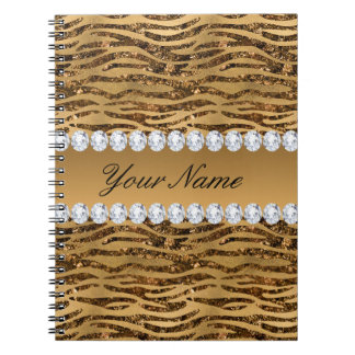 Bronze Gold Faux Foil Zebra Stripes Notebook