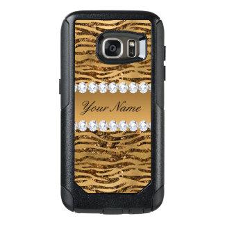 Bronze Gold Faux Foil Zebra Stripes OtterBox Samsung Galaxy S7 Case