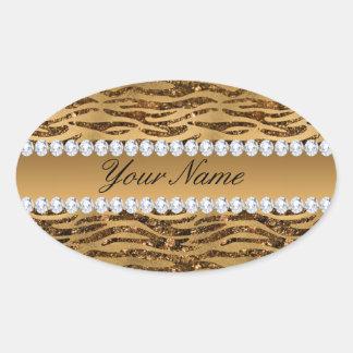 Bronze Gold Faux Foil Zebra Stripes Oval Sticker