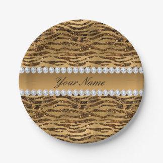 Bronze Gold Faux Foil Zebra Stripes Paper Plate