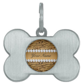Bronze Gold Faux Foil Zebra Stripes Pet Tag