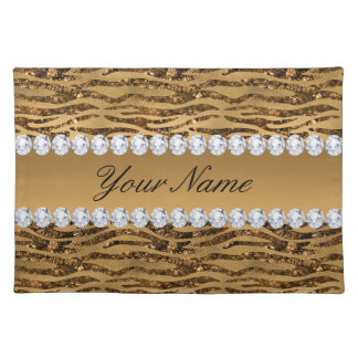 Bronze Gold Faux Foil Zebra Stripes Placemat