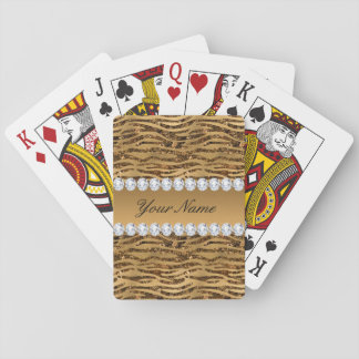 Bronze Gold Faux Foil Zebra Stripes Playing Cards