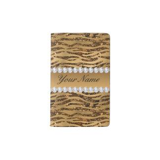 Bronze Gold Faux Foil Zebra Stripes Pocket Moleskine Notebook