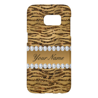 Bronze Gold Faux Foil Zebra Stripes Samsung Galaxy S7 Case