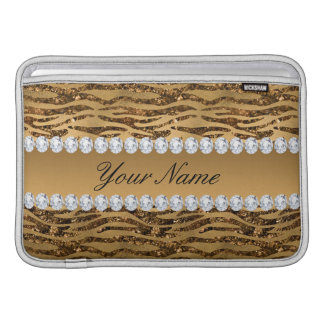 Bronze Gold Faux Foil Zebra Stripes Sleeve For MacBook Air