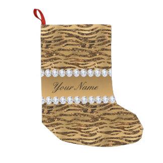 Bronze Gold Faux Foil Zebra Stripes Small Christmas Stocking