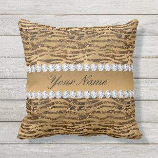 Bronze Gold Faux Foil Zebra Stripes Throw Pillow