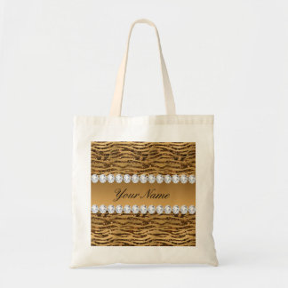 Bronze Gold Faux Foil Zebra Stripes Tote Bag