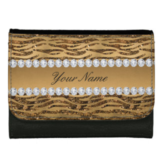 Bronze Gold Faux Foil Zebra Stripes Wallet