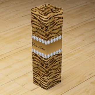 Bronze Gold Faux Foil Zebra Stripes Wine Gift Box
