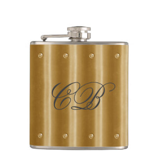 Bronze Gold Metal Look Image Monogram Name Hip Flask