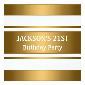 Bronze Gold Metal White Masculine Party Card