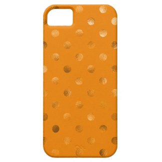 Bronze Gold Metallic Faux Foil Polka Dot Orange iPhone 5 Case