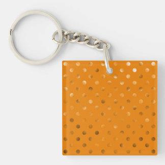 Bronze Gold Metallic Faux Foil Polka Dot Orange Keychain