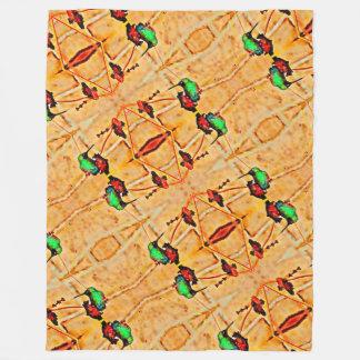 Bronze,gold red and purple hummingbird fleece blanket