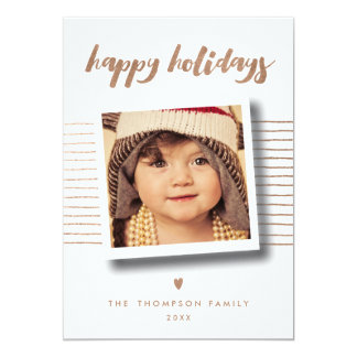 Bronze Happy Holidays Christmas Photo Greeting Card