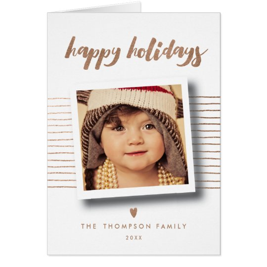 Bronze Happy Holidays Christmas Photo Greeting Card