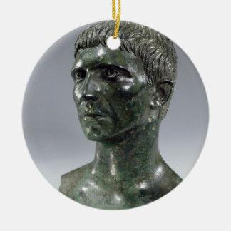 Bronze head of a man, Roman, beginning of 1st cent Round Ceramic Ornament