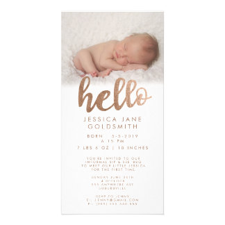 Bronze Hello Birth Announcement Sip & See Custom Photo Card