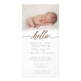 Bronze Hello Birth Announcement Sip & See Picture Card