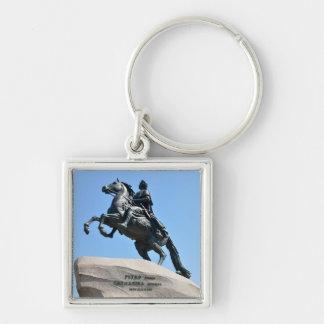 Bronze Horseman Silver-Colored Square Keychain