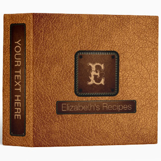 Bronze Leather Elegant Monogram Vinyl Binder