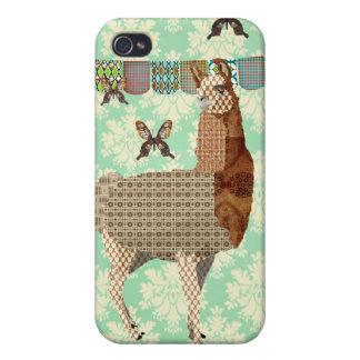 Bronze Llama & Butterflies Mint Julep Damask iPhon iPhone 4/4S Case