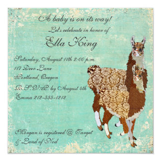 Bronze Llamas Baby Invitation