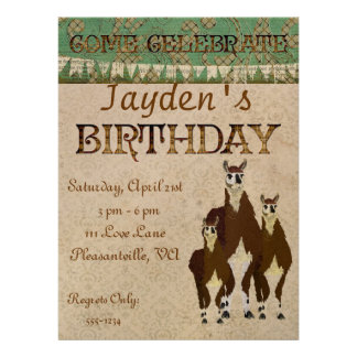 Bronze Llamas Birthday Invitation