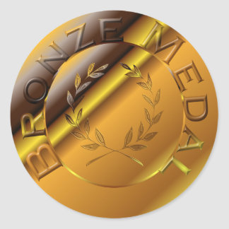 Bronze Medal Round Sticker