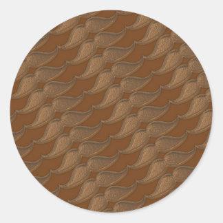 Bronze Metal Mustaches Classic Round Sticker