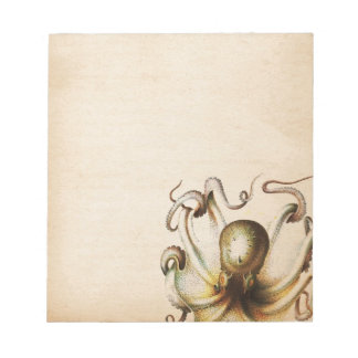 Bronze Octopus Aged Sepia Steampunk Travel Notepad