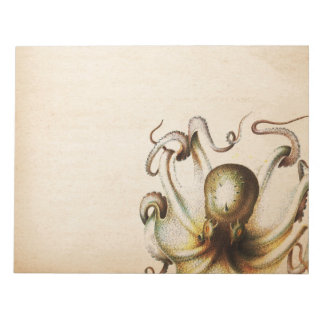 Bronze Octopus Aged Sepia Steampunk Travel Notepads