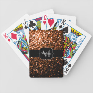 Bronze Orange Brown glitters sparkles Monogram Bicycle Playing Cards