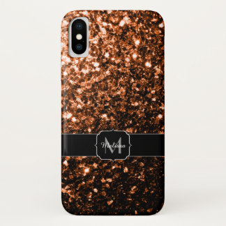 Bronze Orange Brown glitters sparkles Monogram iPhone X Case