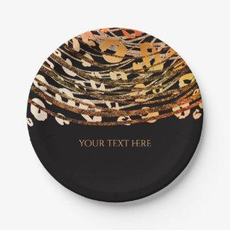 Bronze Orange Cheetah Exotic Print Party Paper Plate
