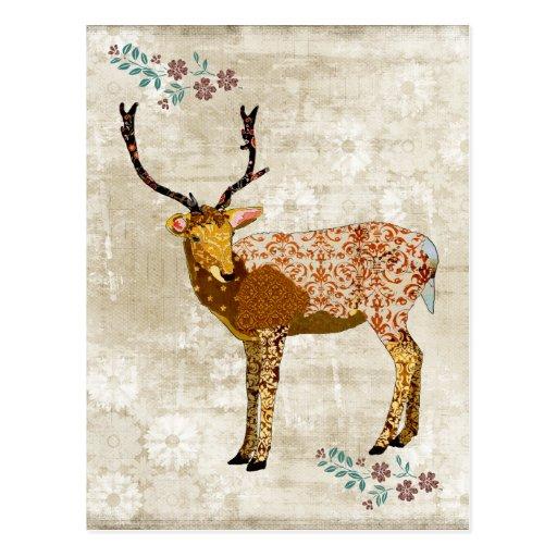 Bronze Ornate Deer White Vintage Postcard