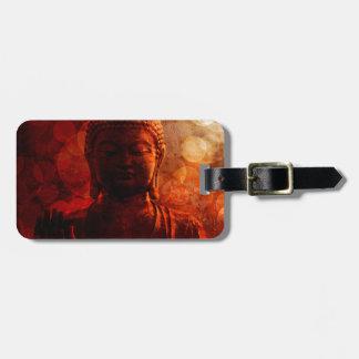 Bronze Red Zen Buddha Statue Raised Palm Luggage Tag