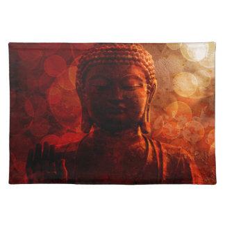 Bronze Red Zen Buddha Statue Raised Palm Placemat