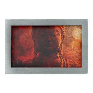 Bronze Red Zen Buddha Statue Raised Palm Rectangular Belt Buckle