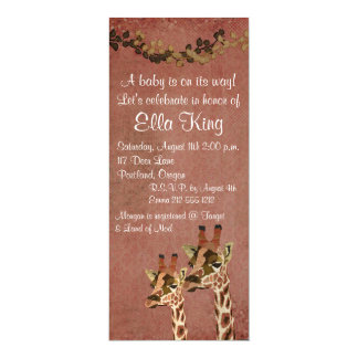 Bronze Rosa Giraffes Baby Invitation