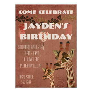 Bronze Rosa Giraffes Birthday Invitation