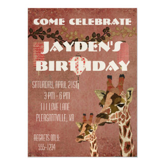 Bronze Rosa Giraffes  Birthday Invitation