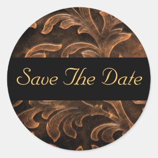 Bronze Scroll Leaf Gold Save The Date Sticker
