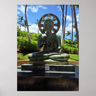 Bronze Seated Buddha, Waikoloa, Hawaii Poster