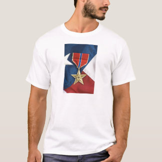 Bronze Star on American flag T-Shirt